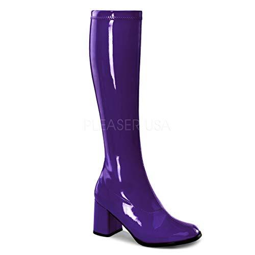 Funtasma by Pleaser Women's Gogo-300 Boot,Purple Stretch Patent,9 M