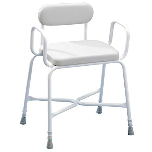 Homecraft Sherwood Plus Perching Stool, Bariatric Stool, Angled Shower Seat, Bath Chair with Back & Arm Rests for Elderly, Handicapped, & Disabled users, Bathroom Accessory for Comfort & Stability
