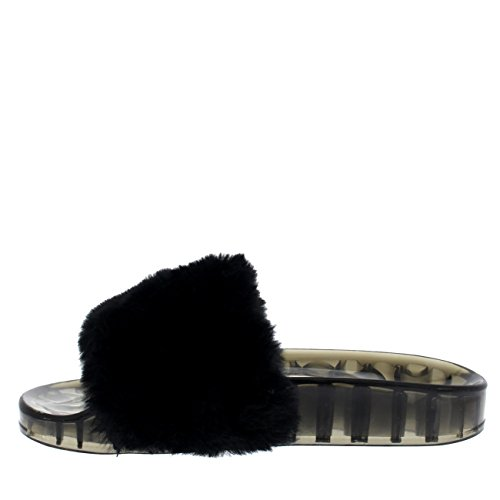 Descarado Abierta Mujer Transparente Sandalias Verano Plano Moda Negro Correa Sola EVA Punta Mullido Elegante dqqOrY