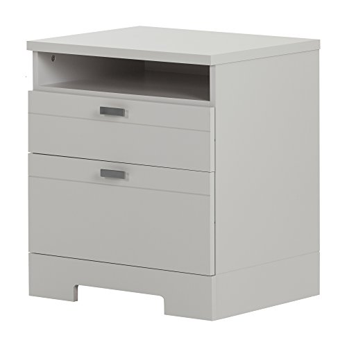 South Shore Reevo 2-Drawer Nightstand, Soft Gray with Matte Nickel Handles by South Shore