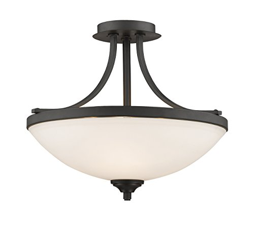 Z-Lite 435SF-BRZ 3 Light Semi Flush Mount, Bronze