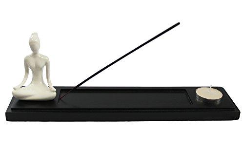 Incense Long Burner (Black Wood Incense Burner Holder Tray with Yoga Lotus Pose Figurine)
