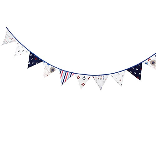 12 Flags 3.2m Pirate Theme Cotton Fabric Bunting Pennant Flags Banner Garland Wedding/Birthday/Baby Shower Party Decoration Pirate Flag Fabric