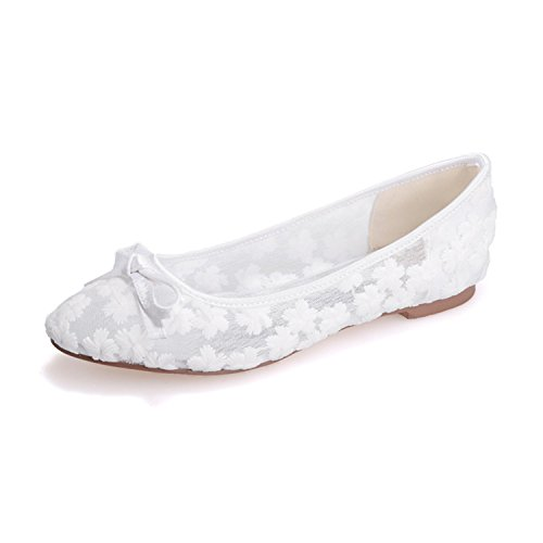 Clearbridal Women's Lace Round Toe Flat Bridal Shoes for Wedding Prom Shoes ZXF9872-21 White