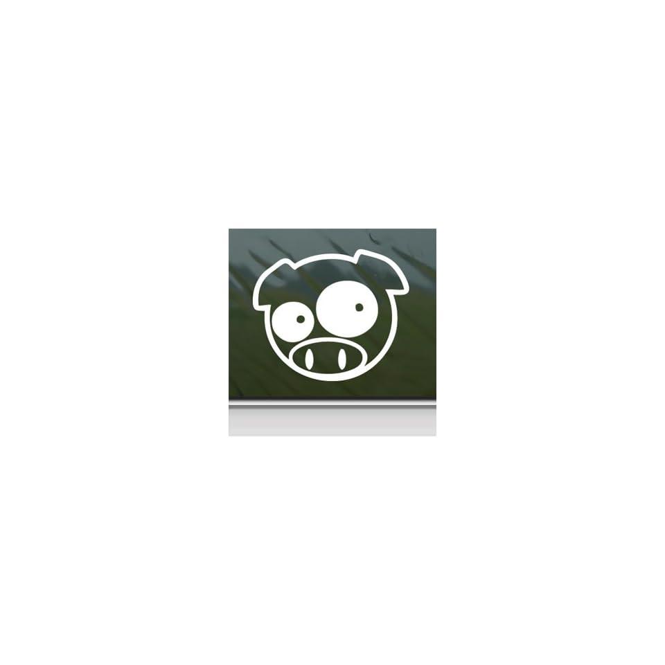 PIG NINJA ANIMAL PET White Sticker Car Vinyl Window Laptop White Decal