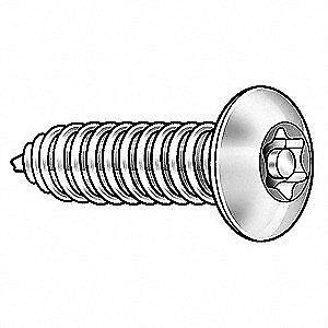 TAMPER-PRUF SCREW 91370 18-8 Stainless Steel Tamper Screw,Button,8,1 1//4 L,PK25