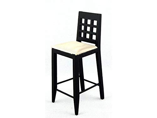(Melody Jane Dolls Houses Black Bar Stool High Chair Miniature Kitchen Pub Furniture 1:12)