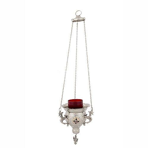 Hanging Nickel Plated Greek Christian Vigil Lamp (231 N)