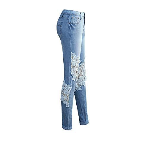 Y Ajustados Jeans DAMENGXIANG Gastados Huecos Corporales Encaje De Pantalones Lavados Wathet Mujer RFzn5wxqz