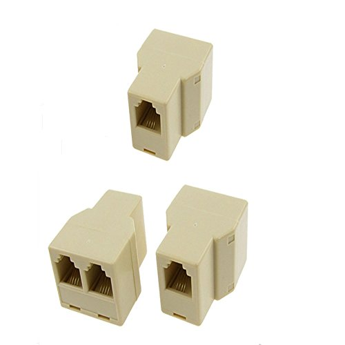Single Line Adapter - Gfortune 3pcs RJ11 1 Female to 2 Female Plug Telephone Modular Cable Splitter Wire Jointer Adapter for Landline Telephone