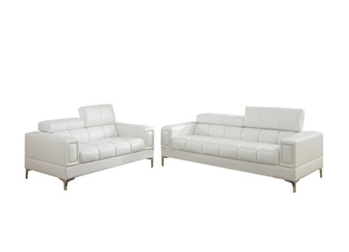 Poundex F7240 Bobkona Sierra Bonded Leather 2 Piece Sofa and Loveseat Set, White