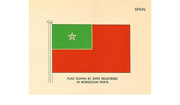 Banderas de España Bandera de los buques registrada en puertos marroquíes – 1955 – Antiguo Vintage Print – Art Picture Prints de España: Amazon.es: Hogar