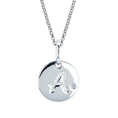Little Diva Diamonds Sterling Silver Diamond Accent Disc 'A' Initial Pendant Necklace