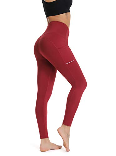 Olacia Yoga Pants with Pocket High Waisted Tummy Control Workout Leggings, Wine Red, X-Large