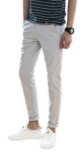 Plaid&Plain Men's Stretchy Khaki Pants Grey 29X32