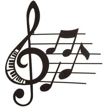 Aunt Chris' Products - Music Metal Wall Decor - Matte Black Color - Use Indoor Or Outdoor - Treble Clef And Notes With Piano Key Cut-outs And Little Music Notes