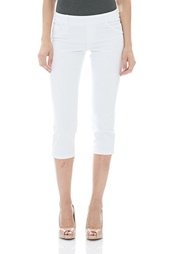 Suko Womens Pull On Capri Jeans Power Stretch 16801C White 10 ()