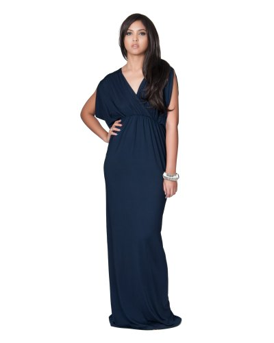 KOH KOH Plus Size Womens Long Sexy Grecian Short Sleeve Summer Empire Bridesmaid Bridesmaids Wedding Guest Casual Party Evening Sundress Gown Gowns Maxi Dress Dresses, Navy Blue XL 14-16 (2)