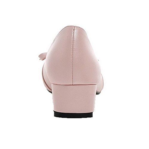 AgooLar Femme Tire à Talon Bas PU Cuir Couleur Unie Rond Chaussures Légeres Rose WmLzDX