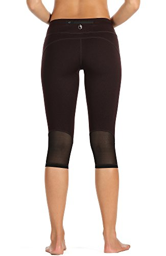 icyzone Yoga Pants for Women - High Waisted Workout Leggings, Activewear Athletic Capris Exercise Tights (Puce, - Shorts Mesh Capri