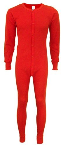 Indera - Mens Long Sleeve Union Suit, Red, 865 19255-Small by INDERA THERMALS