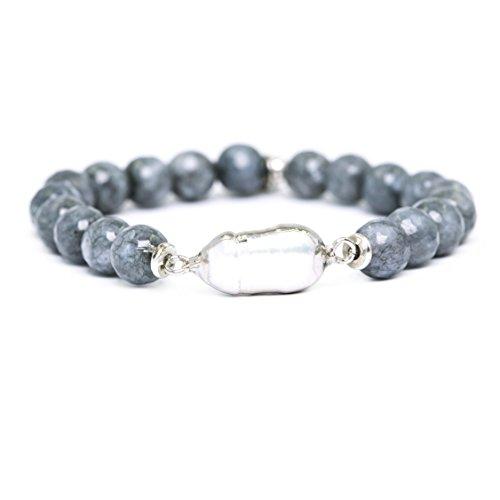Womens Fashion Natural Gemstone Round Beads Healing Reiki Chakra Stretch Bracelets with Pearl(Gray Silver)