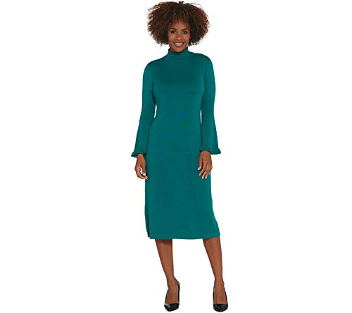 Isaac Mizrahi Live! Regular Bell Sleeve Sweater Dress. A343217 Forest Teal Large from Isaac Mizrahi Live!