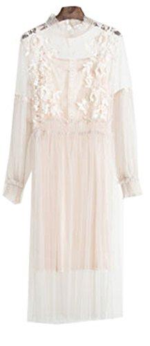 New Autumn New Female Flower Sweet Gauze Lace Pressure Pleated One-Piece Dress Women's Waist Slim Full Dress Twinset Beige -