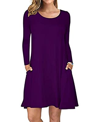 AUSELILY Women's Long Sleeve Pockets Casual Swing T-Shirt Dresses