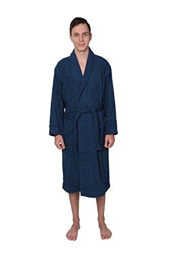 Men's 100% Cotton Terry Cloth Bathrobe Blue (X-Large, Blue)
