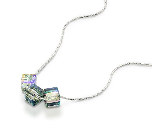 Cube Necklace Made with Original Swarovski Paradise Shine Crystal in 925 Sterling Silver, 18