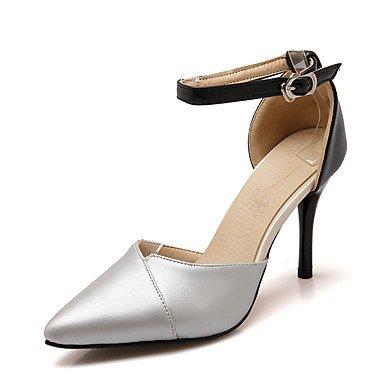 LvYuan Tacón Stiletto-Tira en el Tobillo Zapatos del club D'Orsay y Dos Piezas-Sandalias-Boda Vestido Fiesta y Noche-Semicuero-Rosa Plata Oro Gold