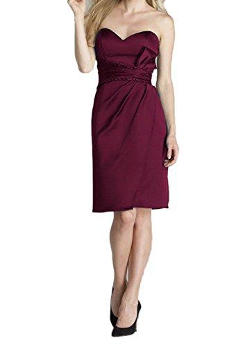 Sweetheart Femmes Dkbridal Courte Robes De Bal Satin Robes De Mariée Taille Froncée Bordeaux