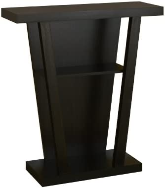 Furniture of America Camrose Transitional 2-Shelf V-shape Entry Way Console Table, Cappuccino