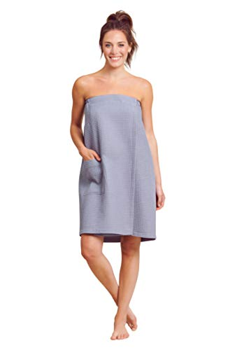 Women Waffle Spa/Bath Wrap with Pocket - Soft Lightweight Comfortable Adjustable Closure, Dry Fast (Small/Medium, Grey)