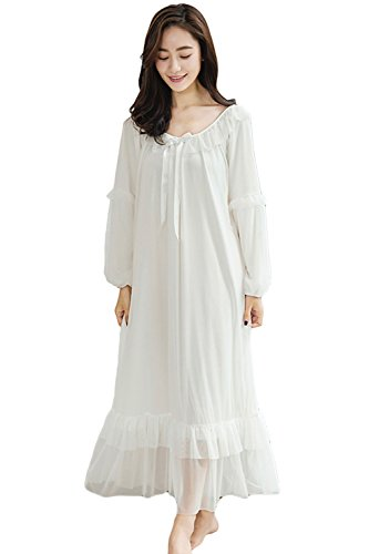 Asherbaby Women's Long Sleeve Vintage Nightgown Victorian Sleepwear Lounge Dress White US XS/Tag S (Long Shop Sleeve Nightgowns)