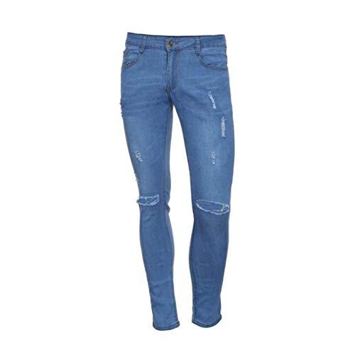 Chino Pantaloni Estivi Sfiancati Fit Jeans Da Skinny Strappati Elasticizzati Blau Cargo Slim Uomo HqSqX