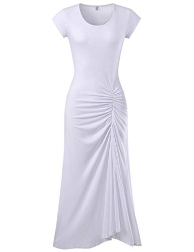 - NEARKIN (NKWBD907 Womens Mermaid Style Shirring Maxi Dress White US L(Tag Size XL)