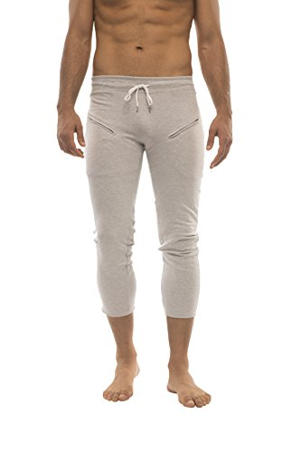 Mens 3/4 or 4/5 Length Zipper Pocket Capri Yoga Pant (Medium, Grey w/Charcoal & Red)