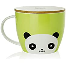 UPSTYLE Cute Coffee Mug Cartoon Ceramic Soup Bowl Animal Pattern Ceramic Cup Travel Mug with Bamboo Lid and Handle for Instant Noodle Vegetables Fruit,Big Capacity 30.7oz (900ml) (Panda)