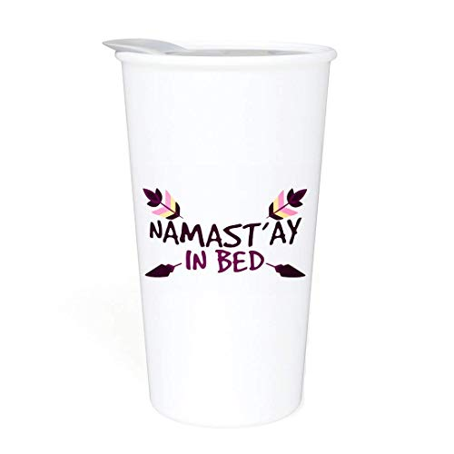 Ceramic Travel Coffee Mug with Lid (12 oz) - Namast'ay In Bed - Funny Mug - Gift for Women. Co-Worker, Friends or Family - Yoga, Meditation - Double Wall Ceramic - BPA-Free Lid - Dishwasher Safe -