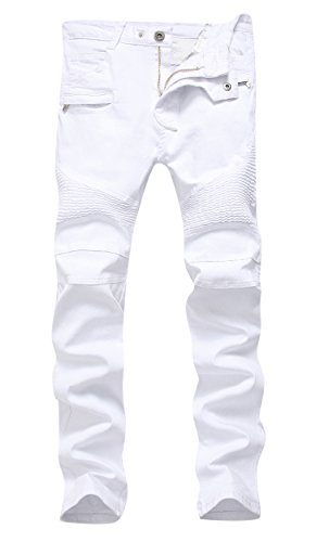 Denim Biker - Men's White Biker Jeans Slim Straight Stretch Skinny Fit Moto Denim Jeans,W34,White