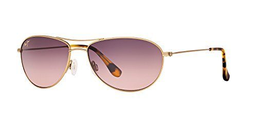 Maui Jim Womens Baby Beach 56 Sunglasses (245) Gold Matte/Pink Metal - Polarized - - Women Jim Maui Aviator