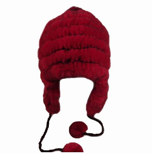 Winter Fur Hat Genuine Rex Rabbit Fur Hat Women String Ski Cap With Earflap Pompom Outdoor Warm