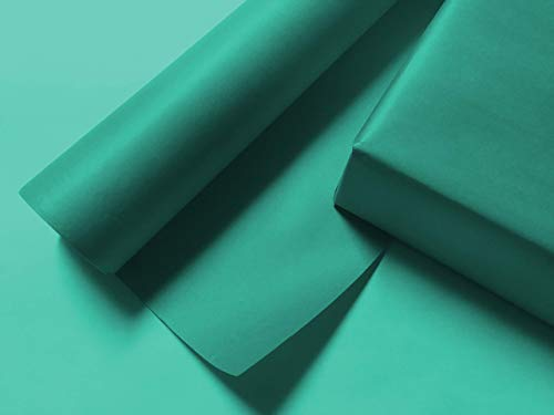 Solid Aqua/Teal Wrapping Paper - up to 8 Feet of Dual-Finish Gift Wrap for Christmas, Weddings, Birthdays, Anniversary, Showers, Graduation & Holiday Presents ()