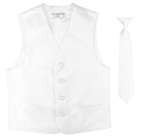 BOY'S Dress Vest & NeckTie Solid WHITE Color Neck Tie Set size 8
