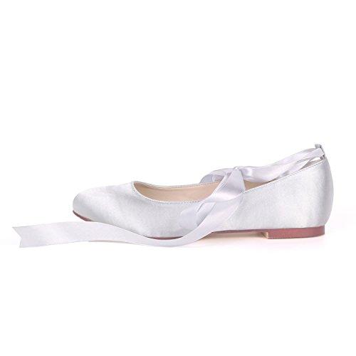 L@YC Women Wedding Shoes Like Platform Closed Toe Low Heels 0.6cm Heel Ribbon Fashion Bridesmaids Ivory cI96Qrw
