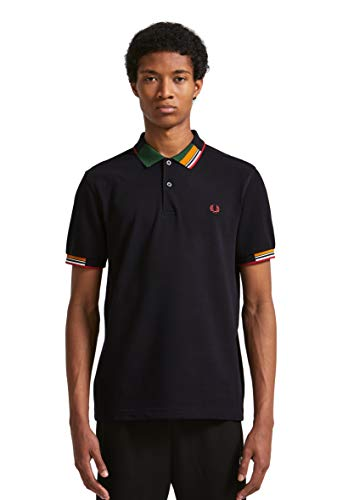 Fred Perry Men's Abstract Collar Shirt, Navy, Blue, Stripe, X-Large