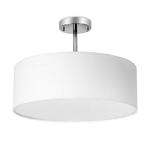 (18inches Retro Modern 3-Light Semi-Flush Mount Ceiling Light with White Drum Shade, Round Frosted Acrylic Diffuser, LED Compatible, E26)