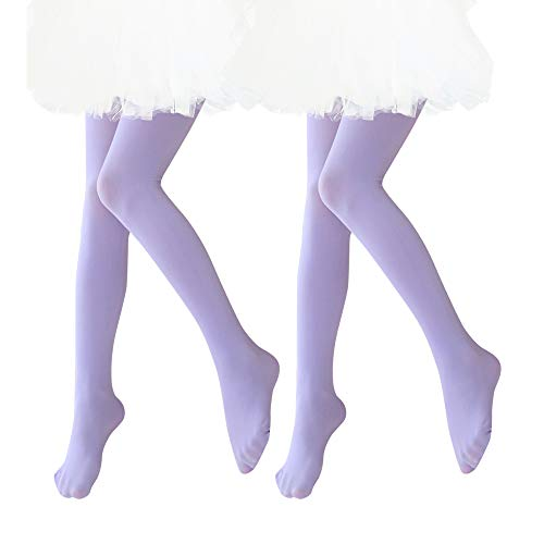 Ballet Dance Tights Ultra Soft Transition Girls Student Footed Tight(Toddler/Little Kid/Big Kid) (L, Light Purple - 2 pack)